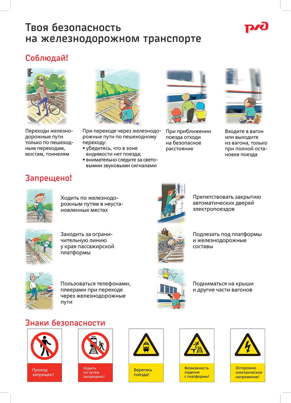 Правила безопасности поведения детей на железнодорожном транспорте